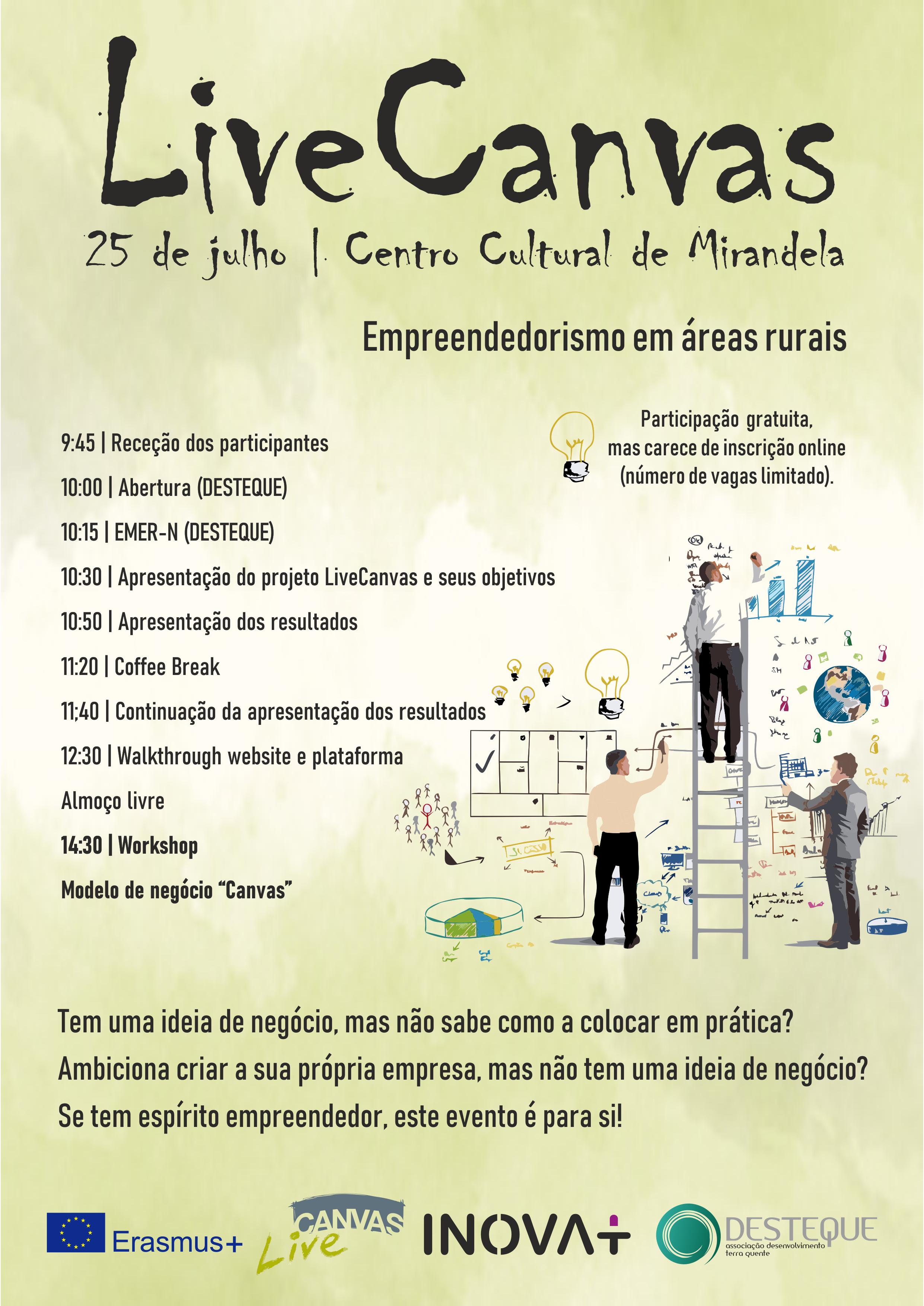 Empreendedorismo em Áreas Rurais, Evento + Workshop – LiveCanvas, Centro Cultural de Mirandela