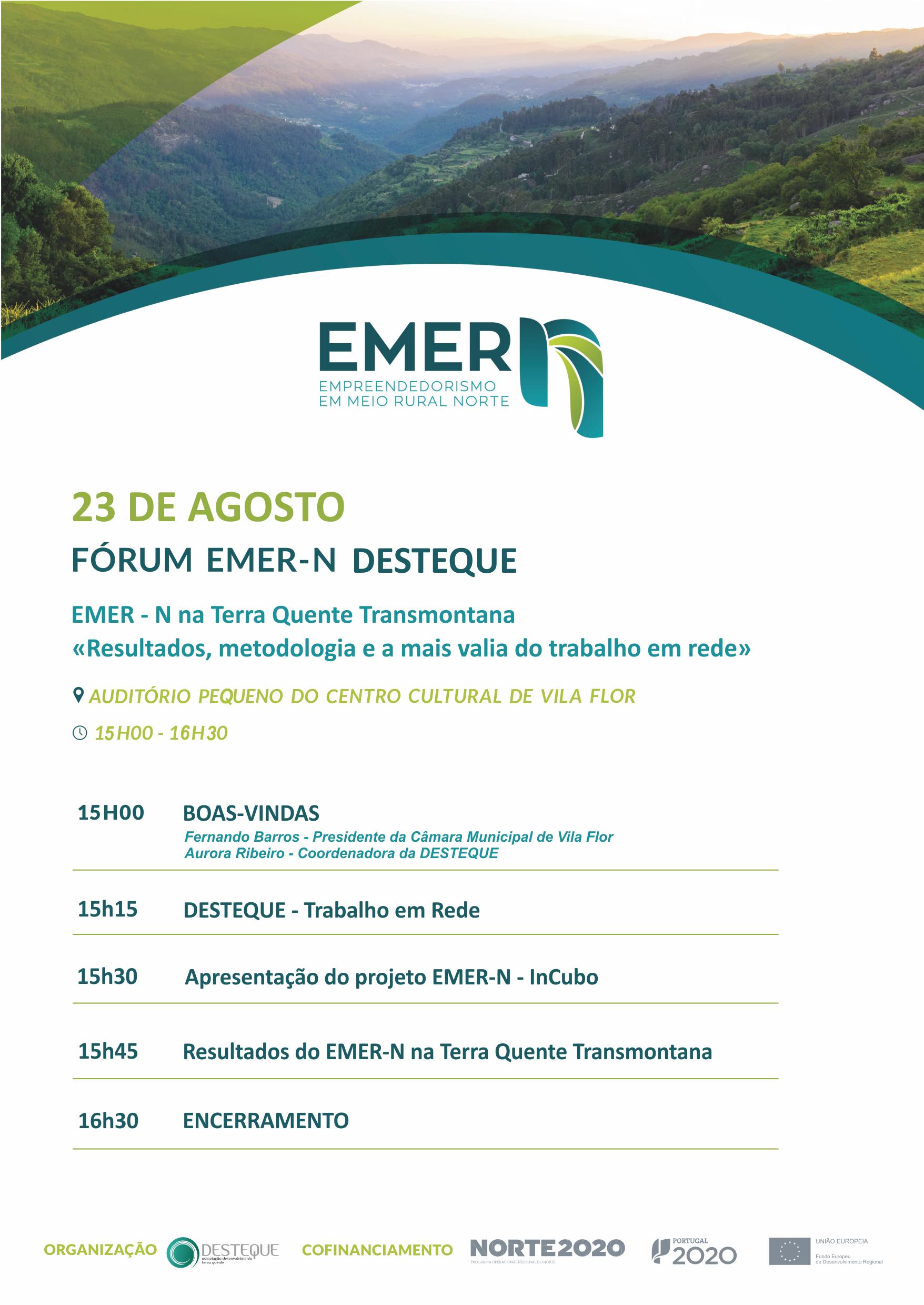 """Fórum EMER-N na Terra Quente Transmontana """"Resultados, metodologias e a mais valia do trabalho em rede"""""""