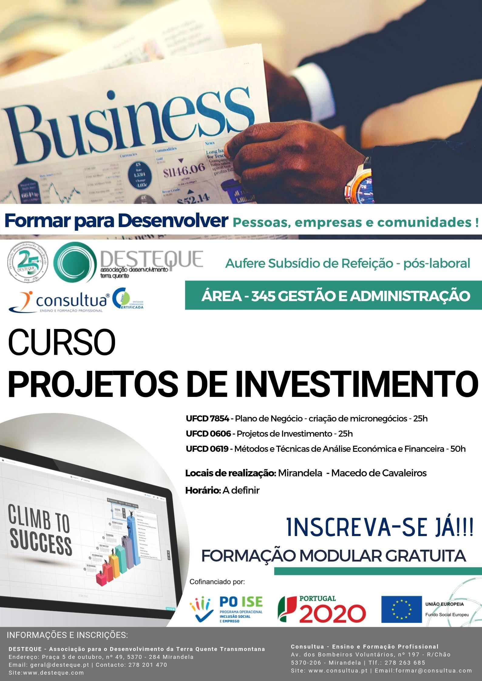 Oferta de Formação Financiada – Projetos de Investimento