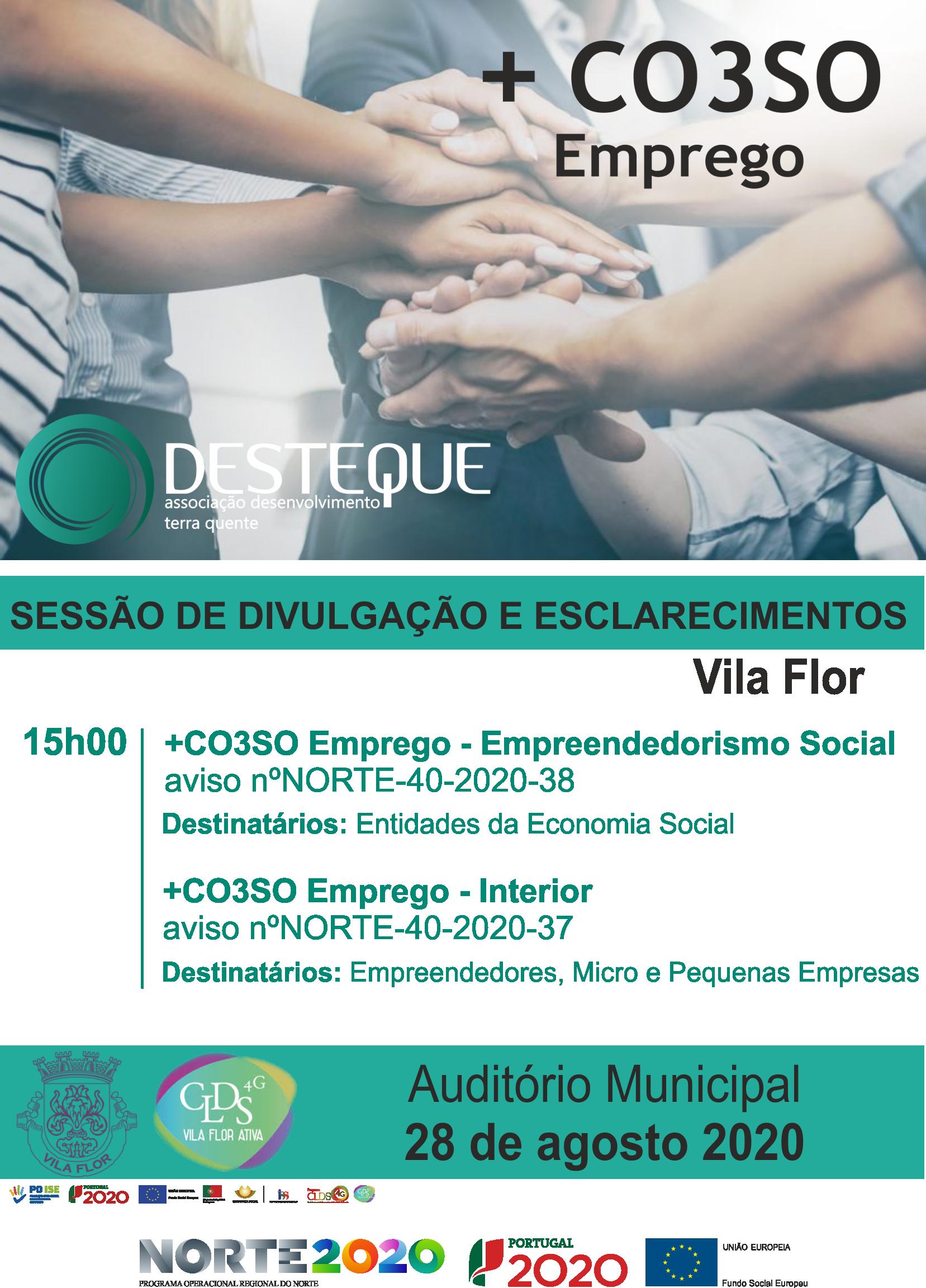 + CO3SO Emprego – Sessão de Divulgação e Esclarecimentos – Vila Flor